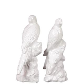 Urban Trends Collection White Ceramic Parrot Bookend (Set of 2)