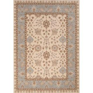 7.85' x 9.85'  Forget Me Not Blue, Warm Brown, and Vanilla Bean Ogden Classic Wool Area Throw Rug