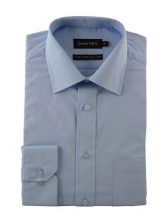 Double TWO Plain Poplin 100% Cotton Shirt Glacier