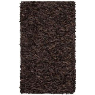 Safavieh Leather Shag Dark Brown 5 ft. x 8 ft. Area Rug LSG421D 5