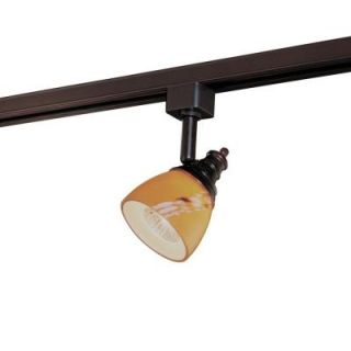 Hampton Bay Oil Rubbed Bronze Linear Track Head with Art Glass Shade EC4152OBR