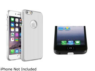 Insten White Brushed Aluminum Case Cover with Clear Docking Port Plug Cap for Apple iPhone 6 (4.7 inch) 2002634