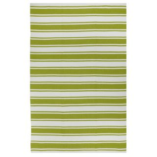 Lucky Green/White Striped Indoor/Outdoor Area Rug by Fab Rugs