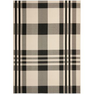 Safavieh Indoor/ Outdoor Courtyard Plaid Black/ Bone Rug (9 x 12