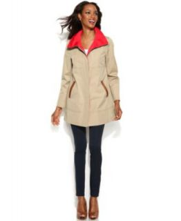 MICHAEL Michael Kors Faux Leather Trim Belted Trench Coat