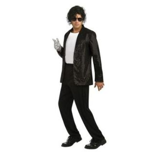 Adult Billie Jean Deluxe Black Sequin Jacket Rubies 889769, Extra Large,Large,Medium,Small