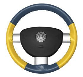 1999 2013 Chevy Silverado Leather Steering Wheel Covers   Wheelskins Sea Blue/Yellow AXX   Wheelskins EuroTone Leather Steering Wheel Covers