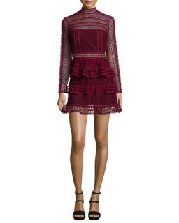 Self Portrait Long Sleeve Tiered Lace Dress, Dark Maroon