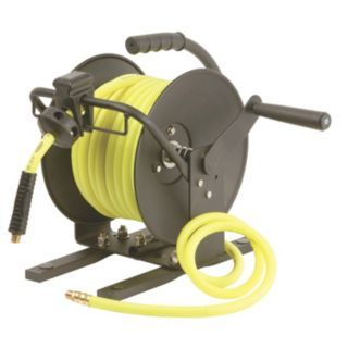 LEGACY 50 ft. Light Duty Hose Reel, Black Body, Hi Vis Safety Green Hose   Motor Driven and Hand Crank Hose Reels   5FYC0|L8651FZ GRA