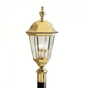Kichler 9989PB Outdoor Light, Transitional Post Mount 3 Light Fixture   Polished Brass