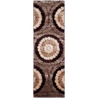 Safavieh Miami Shag Brown/Multi 2 ft. 3 in. x 9 ft. Rug Runner SG357 2591 29