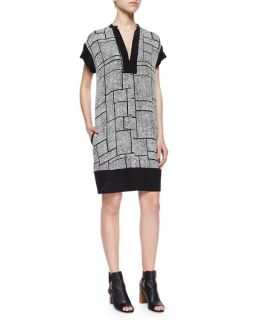 Vince Dotted Grid Print Silk Dress