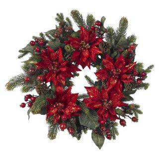 Nearly Natural Artificial Poinsettia and Berry Wreath   Multicolor
