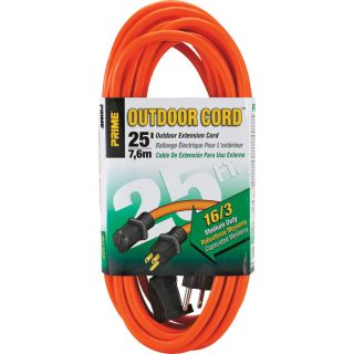 Prime Wire & Cable Outdoor Extension Cord — 25ft., 13 Amps, 16/3 Gauge, Orange, Model# EC501625  Extension Cords