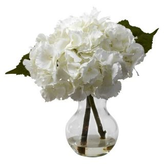 Nearly Natural Blooming Hydrangea w/Vase Arrangement