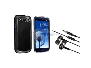 Insten Black Snap on Brushed Aluminum Case + In ear (w/on off) Stereo Headsets Compatible With Samsung Galaxy S III / S3