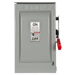 Siemens Heavy Duty 60 Amp 600 Volt 2 Pole Outdoor Fusible Safety Switch HNF262R