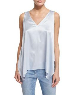 Brunello Cucinelli V Neck Handkerchief Hem Camisole, Light Blue