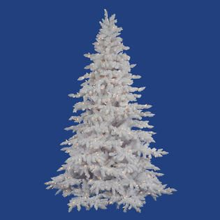 Vickerman 4.5 x 46 Flocked White Spruce Tree with 250 LED Warm