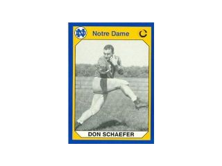 Autograph Warehouse 91333 Don Schaefer Football Card Notre Dame 1990 Collegiate Collection No. 181
