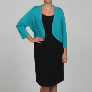 Jessica Howard Womens Plus Turquoise 3/4 Sleeve Sweater