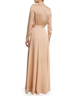 Self Portrait Long Sleeve Crepe Military Maxi Dress, Camel