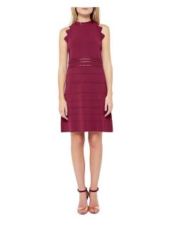 Ted Baker Natleah Scallop Detail Ribbed Dress Red