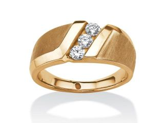 Men's .74 TCW Round Channel Set White Sapphire Ring in 14k Gold over Sterling Silver