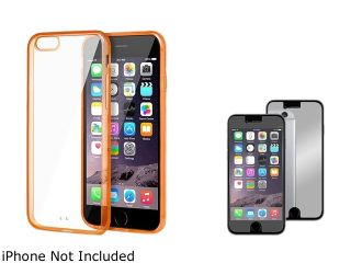 Insten Clear/Orange TPU Bumper Snap in Case Cover with Mirror Screen Protector for Apple iPhone 6 Plus (5.5 inch) 2002586