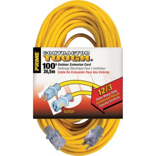 Prime Wire & Cable Contractor Tough Outdoor Extension Cord — 100-Ft., 12/3, 15 Amp, 125 Volt, 1,875 Watt, Yellow, Model# EC511835  Extension Cords