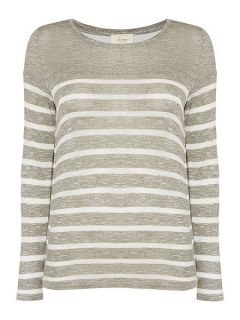 Linea Weekend Cavern Double Layer Stripe Top Khaki