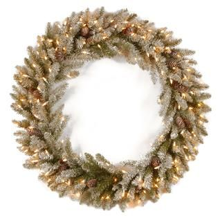 National Tree Company 36 Snowy Concolor Fir Wreath with Clear Lights