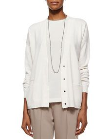 Brunello Cucinelli Monili Trimmed Layered Cardigan Top