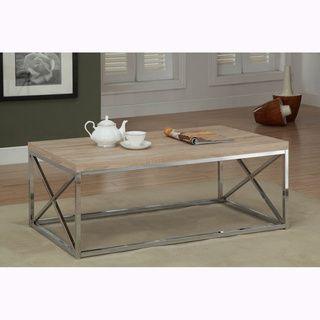 Natural Reclaimed look Chrome Metal Cocktail Table   15605730