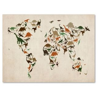 Michael Tompsett Dinosaur World Map 2 Canvas Art   15503258