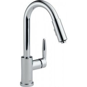 Delta 985LF Kitchen Faucet, Grail Single Handle Pull Out Lead Free   Chrome