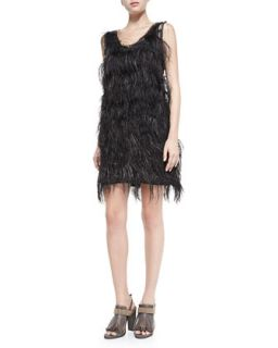 Brunello Cucinelli Sleeveless Ostrich Feather Dress