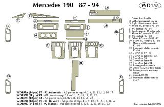 1993 Mercedes Benz 190 Wood Dash Kits   B&I WD155B DCF   B&I Dash Kits