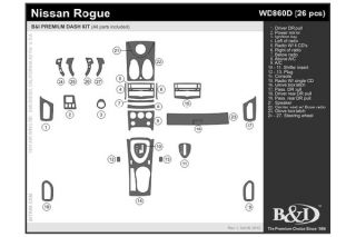 2008, 2009, 2010 Nissan Rogue Wood Dash Kits   B&I WD860D DCF   B&I Dash Kits