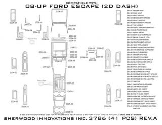 2008 2012 Ford Escape Wood Dash Kits   Sherwood Innovations 3786 CF   Sherwood Innovations Dash Kits