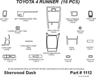 1999 2002 Toyota 4Runner Wood Dash Kits   Sherwood Innovations 1112 CF   Sherwood Innovations Dash Kits
