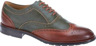 Mens Sebago Dresden Wing Tip Shoe   Green/Chestnut Leather