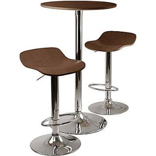 Winsome Kallie 39.76 x 23.66 x 23.66 Wood Round Pub Table With 2 Air Lift Stool, Cappuccino