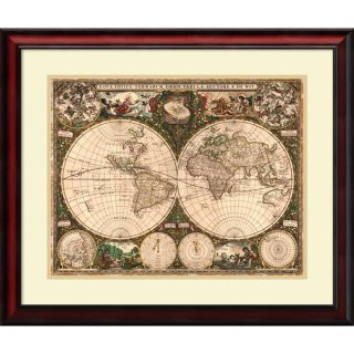 Ward Maps World Map, 1660 Framed Art Print 29 x 25 inch