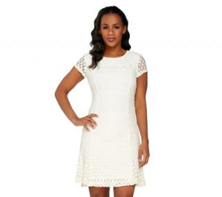 Isaac Mizrahi Live Mixed Lace Dress —