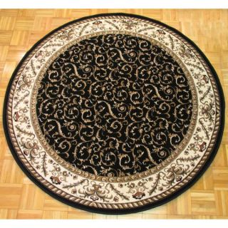 Safavieh Lyndhurst Collection Traditional Black/ Ivory Rug (8 Round)