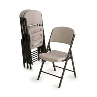 OFFLINE Lifetime Commercial Grade Contoured Folding Chair, Putty   4 pack