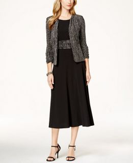 Jessica Howard Sleeveless Printed Sequin Jacket and A Line Dress