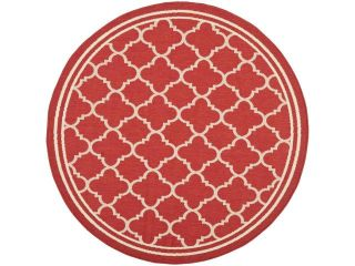 Safavieh Indoor/ Outdoor Courtyard Red/ Bone Rug (4' Round)