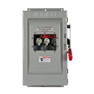 Siemens Heavy Duty 60 Amp 600 Volt 3 Pole type 12 Non Fusible Safety Switch with Window HNF362JW